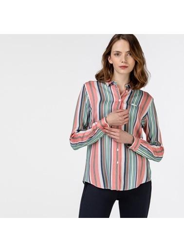 Lacoste Kadın Çizgili Gömlek CF0125.25R Renkli